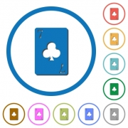 Seven of clubs card flat color vector icons with shadows in round outlines on white background - Seven of clubs card icons with shadows and outlines