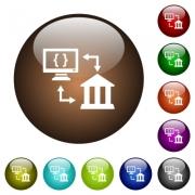 Open banking API white icons on round color glass buttons - Open banking API color glass buttons