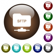 FTP over SSH white icons on round color glass buttons - FTP over SSH color glass buttons