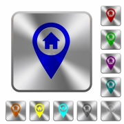 Home address GPS map location engraved icons on rounded square glossy steel buttons - Home address GPS map location rounded square steel buttons