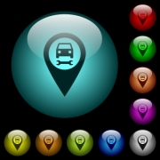 Car service GPS map location icons in color illuminated spherical glass buttons on black background. Can be used to black or dark templates - Car service GPS map location icons in color illuminated glass buttons