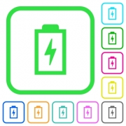 Battery with energy symbol vivid colored flat icons in curved borders on white background
