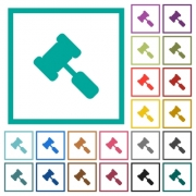 Judge hammer flat color icons with quadrant frames on white background - Judge hammer flat color icons with quadrant frames