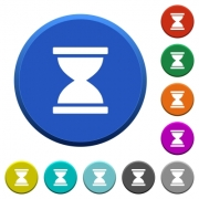 Hourglass round color beveled buttons with smooth surfaces and flat white icons - Hourglass beveled buttons