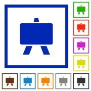 Blackboard flat color icons in square frames on white background - Blackboard flat framed icons