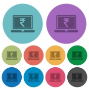Laptop with Rupee sign darker flat icons on color round background - Laptop with Rupee sign color darker flat icons