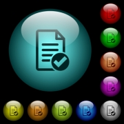 Document ok icons in color illuminated spherical glass buttons on black background. Can be used to black or dark templates - Document ok icons in color illuminated glass buttons
