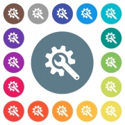 Wrench with cogwheel flat white icons on round color backgrounds. 17 background color variations are included. - Wrench with cogwheel flat white icons on round color backgrounds