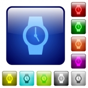 Watch icons in rounded square color glossy button set - Watch color square buttons