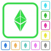 Ethereum classic digital cryptocurrency vivid colored flat icons in curved borders on white background - Ethereum classic digital cryptocurrency vivid colored flat icons