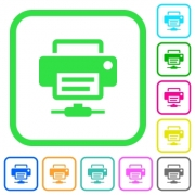Network printer vivid colored flat icons in curved borders on white background - Network printer vivid colored flat icons