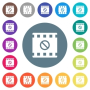 Movie disabled flat white icons on round color backgrounds. 17 background color variations are included. - Movie disabled flat white icons on round color backgrounds