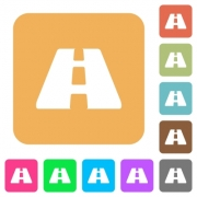 Road flat icons on rounded square vivid color backgrounds. - Road rounded square flat icons