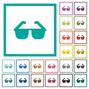 Sunglasses flat color icons with quadrant frames on white background - Sunglasses flat color icons with quadrant frames