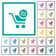 Checkout with new Shekel cart flat color icons with quadrant frames on white background - Checkout with new Shekel cart flat color icons with quadrant frames