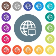 Remote terminal flat white icons on round color backgrounds. 17 background color variations are included. - Remote terminal flat white icons on round color backgrounds