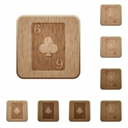 Six of clubs card on rounded square carved wooden button styles - Six of clubs card wooden buttons