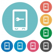 Mobile secure flat white icons on round color backgrounds - Mobile secure flat round icons