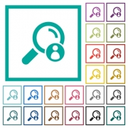 Search member flat color icons with quadrant frames on white background - Search member flat color icons with quadrant frames