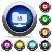 FTP save icons in round glossy buttons with steel frames - FTP save round glossy buttons