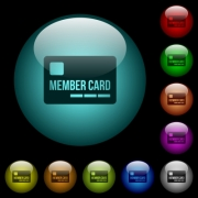 Member card icons in color illuminated spherical glass buttons on black background. Can be used to black or dark templates - Member card icons in color illuminated glass buttons