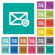 Unlock mail multi colored flat icons on plain square backgrounds. Included white and darker icon variations for hover or active effects. - Unlock mail square flat multi colored icons