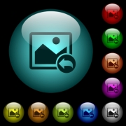 Undo image changes icons in color illuminated spherical glass buttons on black background. Can be used to black or dark templates - Undo image changes icons in color illuminated glass buttons