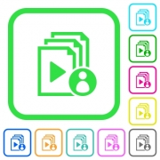 Playlist author vivid colored flat icons in curved borders on white background - Playlist author vivid colored flat icons