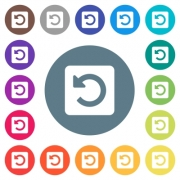 Rotate left flat white icons on round color backgrounds. 17 background color variations are included. - Rotate left flat white icons on round color backgrounds