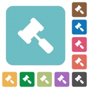 Judge hammer white flat icons on color rounded square backgrounds - Judge hammer rounded square flat icons