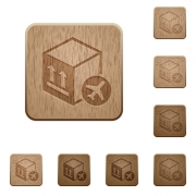 Air package transportation on rounded square carved wooden button styles - Air package transportation wooden buttons