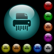 Office shredder icons in color illuminated spherical glass buttons on black background. Can be used to black or dark templates - Office shredder icons in color illuminated glass buttons