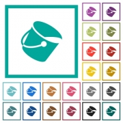Paint bucket flat color icons with quadrant frames on white background - Paint bucket flat color icons with quadrant frames