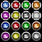 Align to left white icons in round glossy buttons with steel frames on black background. - Align to left white icons in round glossy buttons on black background