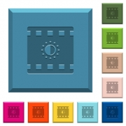 Movie saturation engraved icons on edged square buttons in various trendy colors