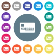 Member card flat white icons on round color backgrounds. 17 background color variations are included. - Member card flat white icons on round color backgrounds