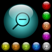 Zoom out icons in color illuminated spherical glass buttons on black background. Can be used to black or dark templates - Zoom out icons in color illuminated glass buttons - Large thumbnail