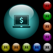 Laptop with Dollar sign icons in color illuminated spherical glass buttons on black background. Can be used to black or dark templates - Laptop with Dollar sign icons in color illuminated glass buttons - Large thumbnail