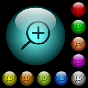 Zoom in icons in color illuminated spherical glass buttons on black background. Can be used to black or dark templates - Zoom in icons in color illuminated glass buttons