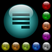 Text align justify last row right icons in color illuminated spherical glass buttons on black background. Can be used to black or dark templates - Text align justify last row right icons in color illuminated glass buttons - Large thumbnail