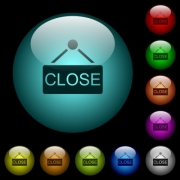 Close sign icons in color illuminated spherical glass buttons on black background. Can be used to black or dark templates - Close sign icons in color illuminated glass buttons