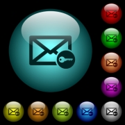 Secure mail icons in color illuminated spherical glass buttons on black background. Can be used to black or dark templates - Secure mail icons in color illuminated glass buttons