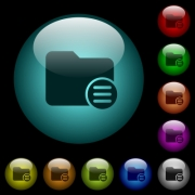 Directory options icons in color illuminated spherical glass buttons on black background. Can be used to black or dark templates - Directory options icons in color illuminated glass buttons