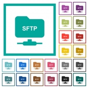 FTP over SSH flat color icons with quadrant frames on white background - FTP over SSH flat color icons with quadrant frames