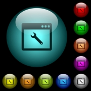 Application maintenance icons in color illuminated spherical glass buttons on black background. Can be used to black or dark templates