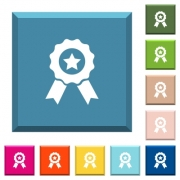 Award with ribbons white icons on edged square buttons in various trendy colors - Award with ribbons white icons on edged square buttons