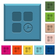 Component timer engraved icons on edged square buttons in various trendy colors - Component timer engraved icons on edged square buttons