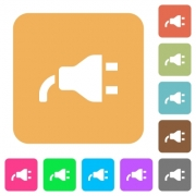 Power plug flat icons on rounded square vivid color backgrounds. - Power plug rounded square flat icons