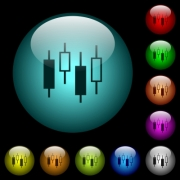 Candlestick chart icons in color illuminated spherical glass buttons on black background. Can be used to black or dark templates - Candlestick chart icons in color illuminated glass buttons