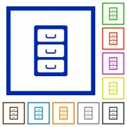 Archive file cabinet flat color icons in square frames on white background - Archive file cabinet flat framed icons